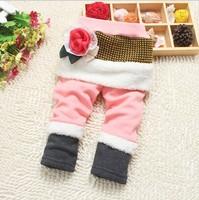 Retail 1 pcs New 2014 Spring Autumn Girl Flower Faux Fur Legging Children Skirt-Pants Kids Warm Thick Leggings CC1632