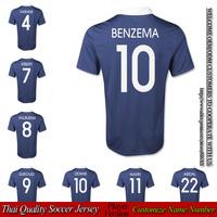 National team home blue football shirts BENZEMA soccer jersey 2014 thai quality ZIDANE VARANE Player version NASRI free shiping