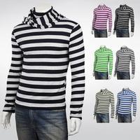 Warm Sweater Men Slim Turtleneck Heaps Collar slim winter male stripe pullover men sweater Buy a sweater to send scarf MK.11