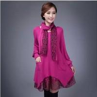 free shipping ! girl's elegant pockets dress women's fall winter loose big size clothing female woolen leopard mini dress