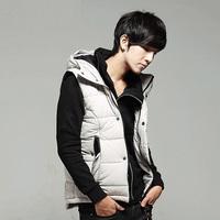 New 2014 winter jacket men casual vest down hooded vest men cotton-padded waistcoats free shipping MK.11