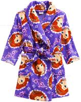 free shipping sofia girl's coral velvet robes , chirlden's bath robes