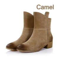 Cowhide Scrub The woman Knight  In  tube winter  boots The  woman  Retro Knight winter boots Leather woman boots  FREE SHIPPING