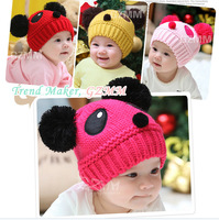 2014 Hot Sale Lovely Animal Panda Baby Hats And Caps Kids Boy Girl Crochet Beanie Hat Winter Cap For Children To Keep Warm 1pc