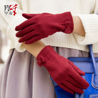 Eland in the spring and autumn new wool super warm bow glove lady elegant temperament finger gloves
