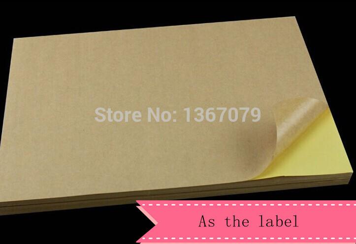 50 sheets/$17pack A4 self adhesive brown kraft printing copy sticker label Paper For Laser Inkjet Printer(China (Mainland))
