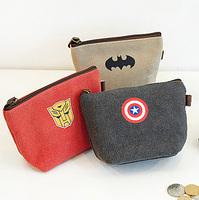 Free shipping,Min order 15$ (Mixed order) Cartoon Hero Theme The Avengers Square Canvas Coin Purse Key Case Zipper Storage Bag