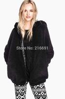 2014 new fashion Europe women winter cute bear's ear thicken fleece Hooded coat Lady casual pure color Zippered outerwear #J406