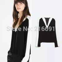 2014 new fashion women elegant sexy V-neck chiffon long sleeve blouse Lady casual brand design Contrast color OL shirt #J408