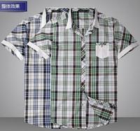 Mercerized cotton men's shirt fashion summer new men's casual short-sleeved plaid shirt