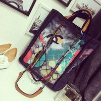 HOT!!2014 fashion catwalks famous brand LOGO graffiti canvas shoulder bag women's handbag tote chain bag free shipping 3 colors
