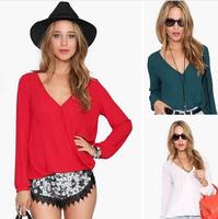 Free Shipping 2014 Spring Summer Fashion Casual Chiffon Shirts Women's Polo Blouse KG4523