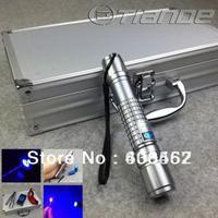 Wholesale - Free shipping 450nm 100000mw/100Watt Waterproof focusable blue laser pointer burning torch +aluminium case+free gogg