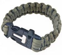 2 PCS Survival Bracelet Outdoor Paracord Flint Fire Starter Scraper Whistle Gear Kits Army Green  FREE SHIPPING  G140-2