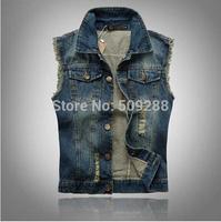 Free Shipping New Men's Denim Vest Men Cowboy Vest Denim Sleeveless Jacket