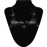 Halloween Black Spider Web Red Rhinestone Statement Necklace Choker