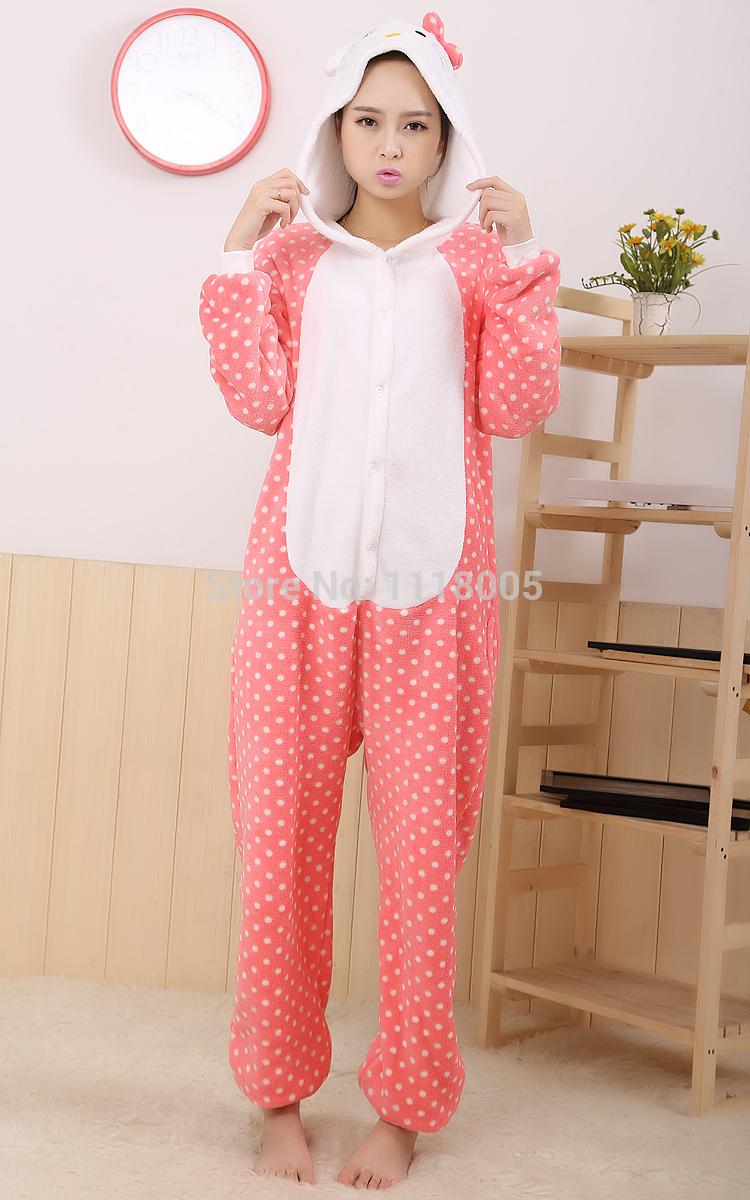 2013 new style Polka Dot Hello Kitty pajamas adult role-playing apparel(China (Mainland))
