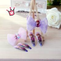 2014 New Frozen Girl Cartoon Hairpin and Bowknot Hair Band Set Wholesale 10 sets