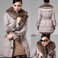 brand women's winter down jacket lady long section thick winter coat raccoon collar  M L XL 2XL 3XL women /719