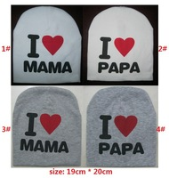 10 pieces/lot  wholesale fashion cotton baby hat skull cap with i love papa i love mama baby caps boys girls gift infant hats