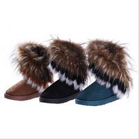 Factory direct sales of Russia's foreign trade boots imitation fox fur boots canister boots boots in MS.