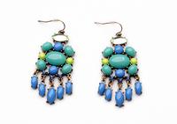 New 2014 Fashion Bijoux vintage Jewery Blue Green joker pendant Earring For Women Free Shipping JZ100610