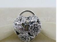 925 Sterling Silver Floral Heart Padlock Openwork Bead Fits European Jewelry Bracelets Necklaces Pendants