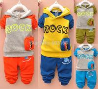 Rock Letter Hooded Velvet Sets Kid's Baby Boys Sets Children's Sets(4Sets/lot) Autumn Winter Suits {iso-14-10-11-A7}