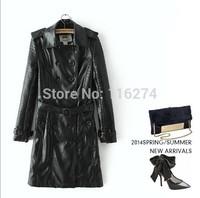 2014 Black Ladies Leather Jacket Coat Hot Sale Women Autumn Winter Long Jackets Topcoat MYK053