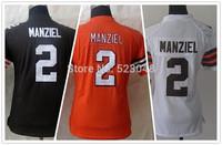 Free Shipping #2 Johnny Manziel White/Orange Authentic Women Football Jerseys Size:S-XXL,accept Mix order