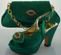 Free Shipping By DHL! Newest lady Italian matching shoe and bag set for wedding and party in wholesale GREEN COLOUR