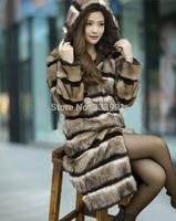 The new 2014 fur faux fur coat Gray black stripe Women's long mink rabbit fur coat
