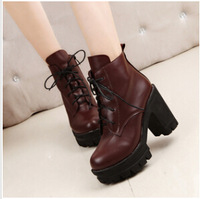 2014 hot fashion women boots chunky heels Front lace-up high heel women Martin boots dr9