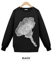 2014 New winter coat Fashion Fleece Pullovers long Plus Size Flora Hooded Sweatshirt Hoodies Women