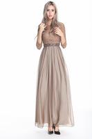 2014 New Chiffon Three quarter O-Neck Lace A-line Ankle-Length Dress eveing Dresses