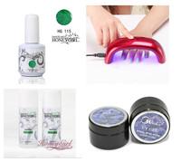 sale china 4pcs glaze color soak off uv gel polish,top gel,base gel,gel extension,gel remover, gel cleanse,1pcs 9w led