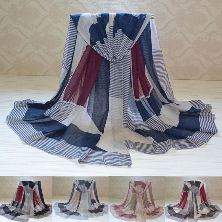 Women winter scarf 2014,Stripe print,High quality viscose scarves,geometry print,Muslim hijab,cotton scarves,Scarf Women,bandana(China (Mainland))