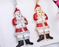 Tops2014!9.6CM Enamel Christmas Santa Claus Gold/Dull Silver Women's Sweat Chain Best Christmas Gift xy185 Free Shipping
