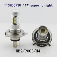 A++++High Quality free shipping 2pcs HB2 9003 H4 11SMD5730 11W super bright led fog light auto headlamp high/low beam DRL DC12V