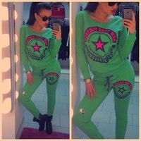 New 2014 Winter Autumn Star print latter black,bule,Green sportwear 2 pcs sets sport suit women