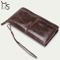 Genuine leather clutches high quality wax oil cowhide Leather men hand bag Wallet Card package 2015 NEW