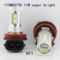 A++++High Quality free shipping 2pcs/lot H11 11SMD5730 11W super bright led fog light auto headlamp car lights headlight DRL