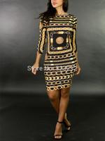 New fashion designer geometric print bandage dress desigual party dresses autumn dress