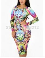 New Fashion Long Sleeve Print Sexy Dress Women Night Club Party Dresses New Popular Bandage Bodycon Dress
