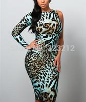 New Girls Autumn Winter Leopard Print Dresses Backless Party Dresses Vestidos Bodycon Dress