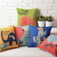 Cute cartoon Ikea Retro style Happy Elephant Linen Cotton Cushion Linen Pillow cover pillowcase home decorate sofa cushions