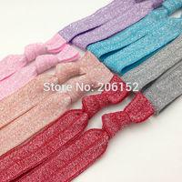 New Stock Metallic Fold Over Elastic Hair Tie Hair Accessory