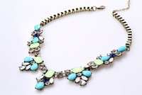 New Arrival J.C Brand Anti Brass Plated blue and green Vintage Necklace statement resin necklace choker necklace free shipping