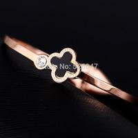 Unique Designer rhinestone Four Leaf Clover 316L Stainless Steel Bracelets & Bangles women Gift Knitted  Bracelet  Jewelry