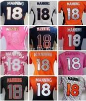 2014 New! Cheap Women Peyton Manning Jersey #18 American Denver Football Jerseys Free Shipping Embroidery Logo Super Bowl XLVIII